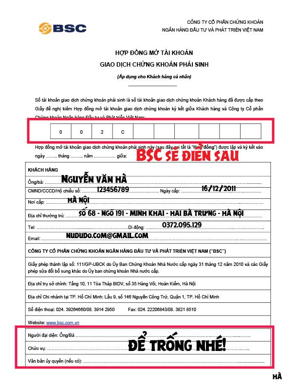 Cách ký vào hồ sơ mở tài khoản chứng khoán phái sinh trang 1