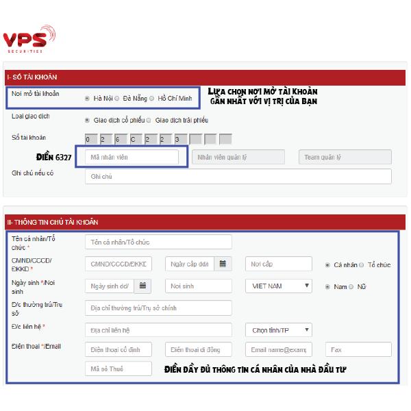 Hướng dẫn cách mở tài khoản chứng khoán Online VPS điền thông tin trang 1