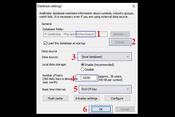 Cách set dữ liệu database settings cho Amibroker