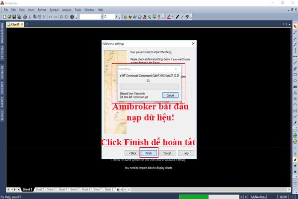 Amibroker bắt đầu tiến hành tải dữ liệu Amibroker Cafef vào database của nó
