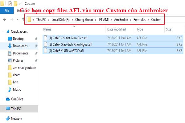 Copy Files AFL vào thư mục cài đặt Amibroker