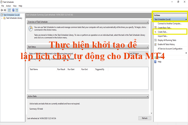 Thực hiện khởi tạo lịch chạy dữ liệu chứng khoán cho MT4 tự động