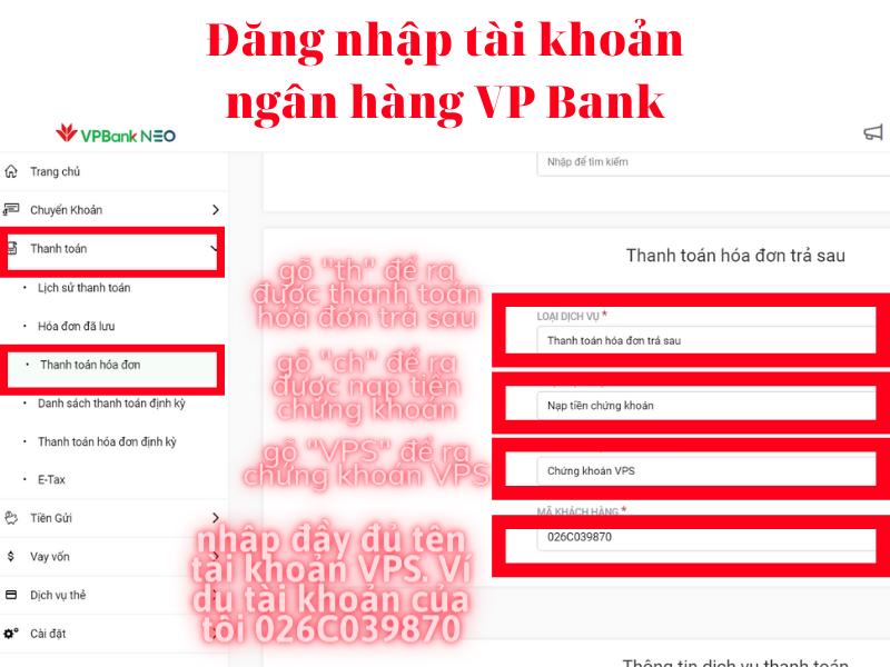 Cách nộp tiền vào tài khoản chứng khoán VPS trên Website VP Bank