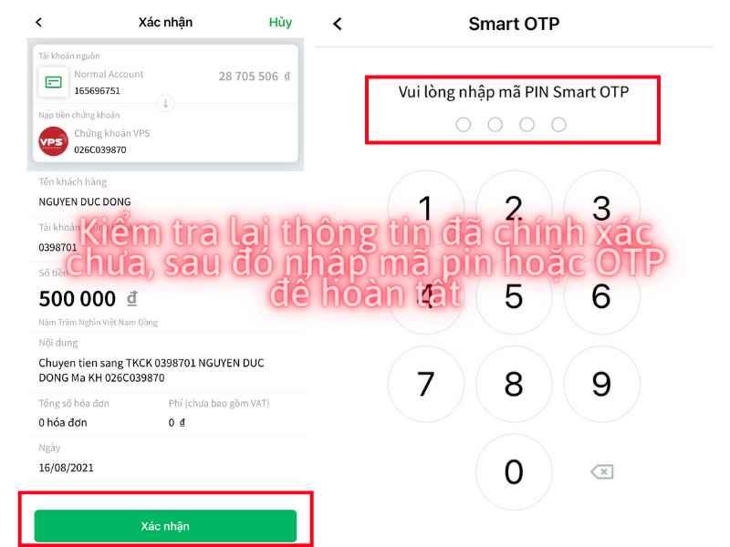Kiểm tra lại thông tin, nếu đúng thì click xác nhận để nộp tiền vào tài khoản chứng khoán VPS