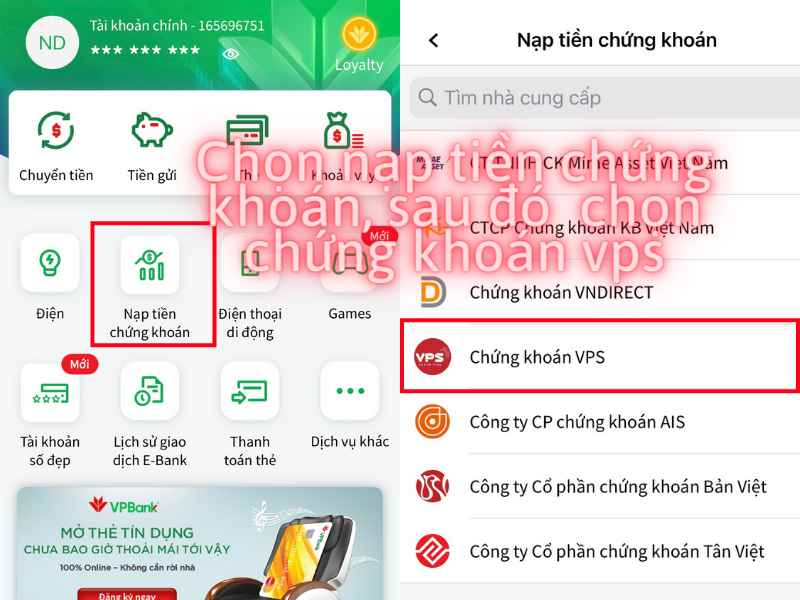 Lua chon nop tien vao tai khoan chung khoan vps tren VPBank mobile