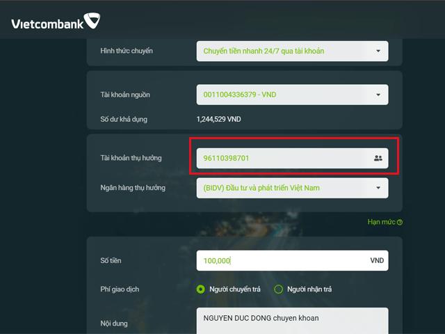Cách chuyển tiền vào tài khoản chứng khoán VPS bằng định danh 9611 BIDV